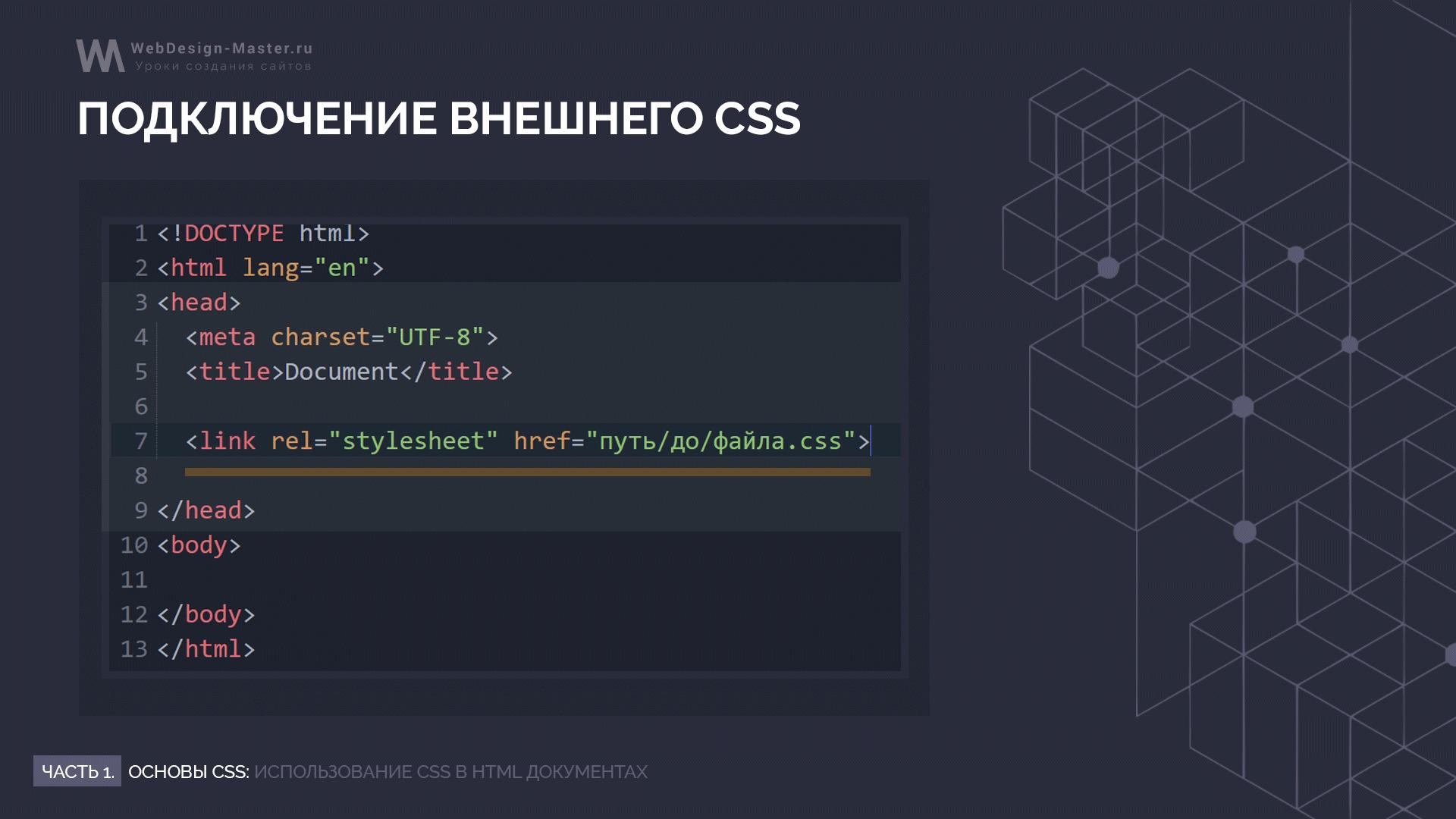 Внешнее подключение CSS файла