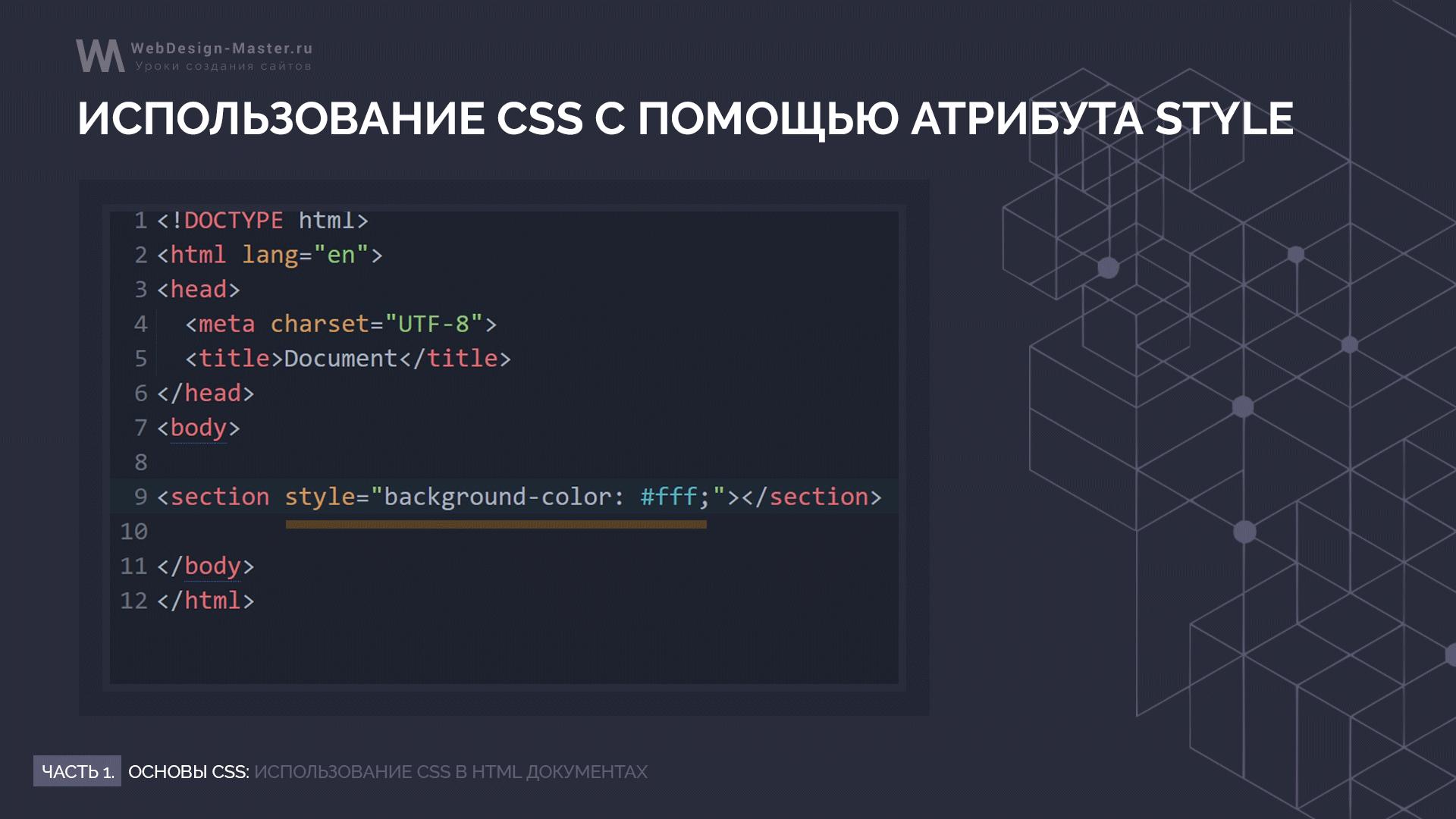 Инлайновое подключение CSS через атрибут style